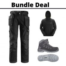 This Bundles Deal includes Snickers 3214 canvas trousers, a Snickers branded hoodie and a pair of Toe Guard heavy duty boots.