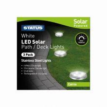 Cairns LED Solar Deck Light Stainless Steel 3 Pack