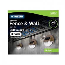 Hobart LED Solar Gold Fence Lights 3 Pack