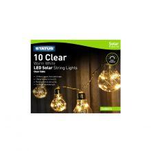 Canberra 10 Clear Warm White LEDSolar String Light Bulbs 3.8m